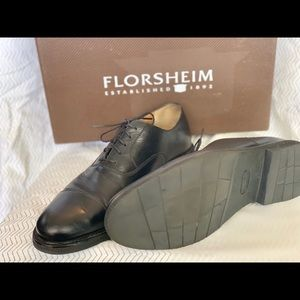 Florsheim cap toe Blk oxford rubber sole 9D